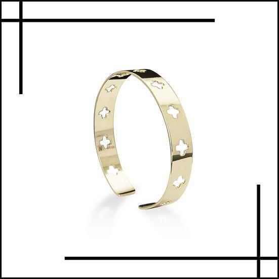 Bracelet jonc croix géométrique