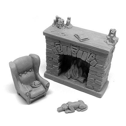 Камин, кресло, собака