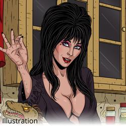 Elvira is cooking