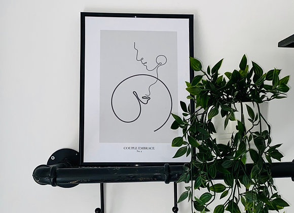 Couple Embrace Line Print - No. 2