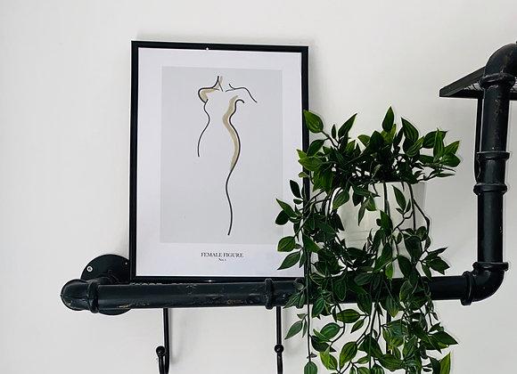 Female Figure Line Print Block Colour
