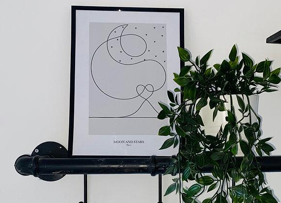 Moon and Stars Line Print - No. 1