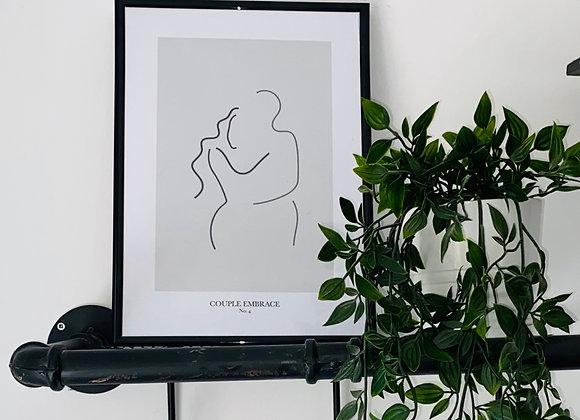 Couple Embrace Line Print - No. 4