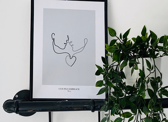 Couple Embrace Line Print - No. 3