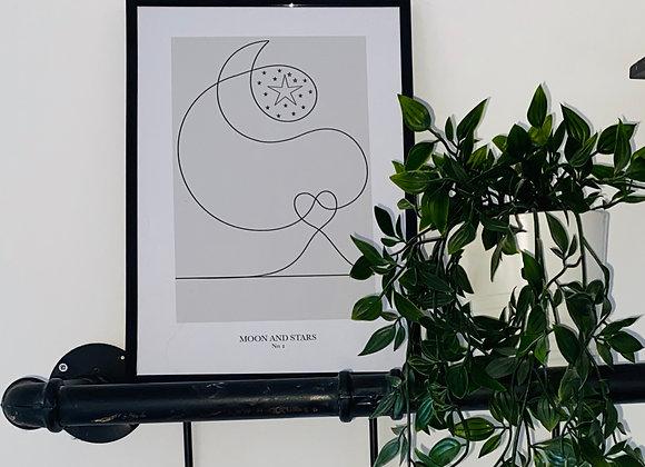 Moon and Stars Line Print - No. 2