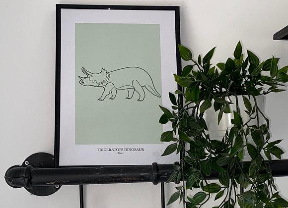 Triceratops Dinosaur Line Print - No. 1