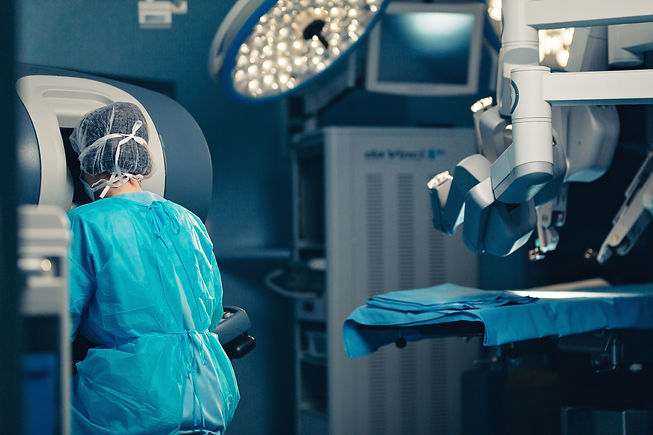 Surgical room in hospital with robotic t