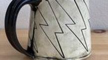 Hand-built lightning bolt mug