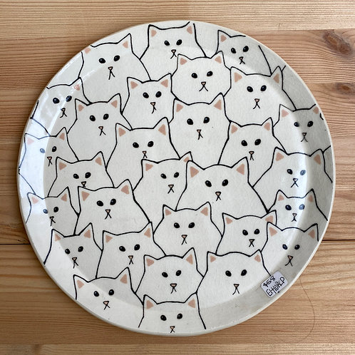 White Cat Plate by Emily Hobart