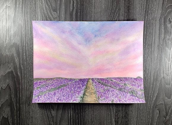 Purple Field - Watercolor - 10x13