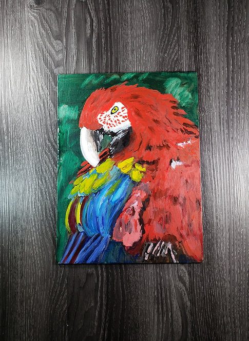 Red Bird - Oil Painting - 9x12