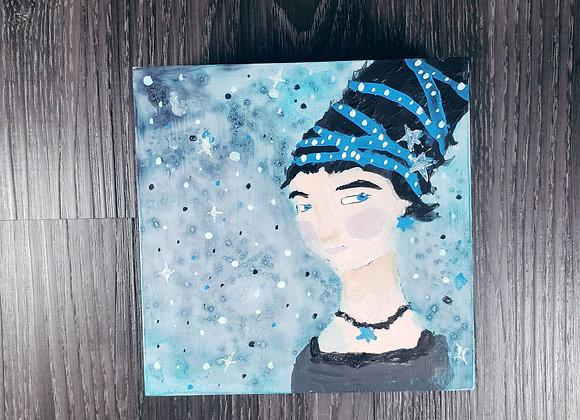 Blue Galaxy Woman - Acrylic - 5x5x1