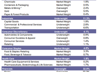 NBF Sector Weightings July/August 2019