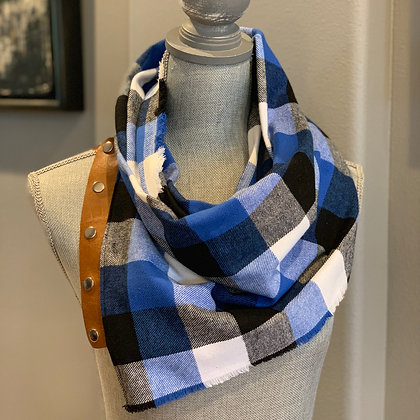 Blue, Black, White Checked Plaid Snappie Scarf
