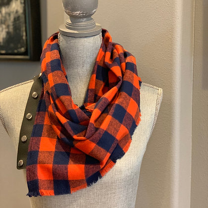 Navy and Orange Buffalo Plaid Snappie Scarf