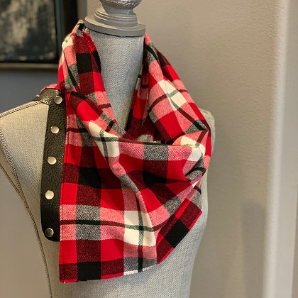 Red, Black, White, and a little Green Plaid Snappie Scarf