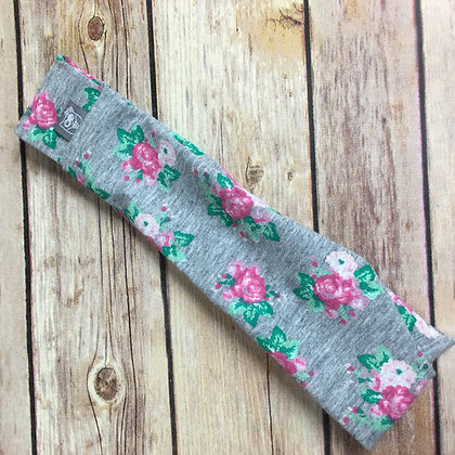 Grey Cotton with pink flowers