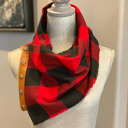 Red and Black Large Checked Snappie Scarf