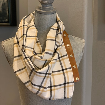 Cream, Black and Tan Plaid Snappie Scarf