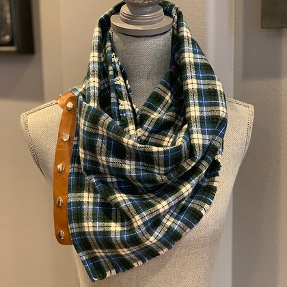 Blue and Green Plaid Snappie Scarf