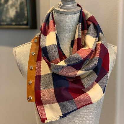 Maroon, Navy, and Cream Plaid Snappie Scarf