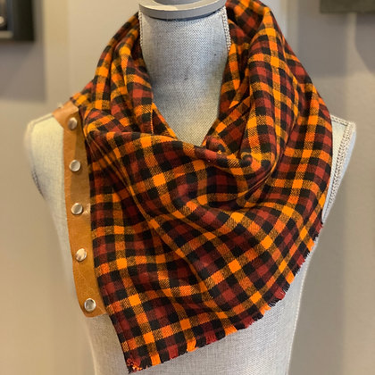 Orange and Rust Plaid Snappie Scarf