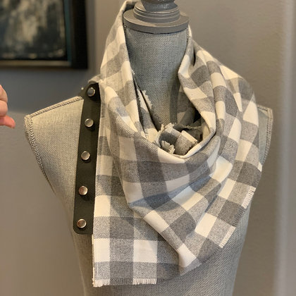 Gray and White Buffalo Plaid (1in squares)  Snappie Scarf