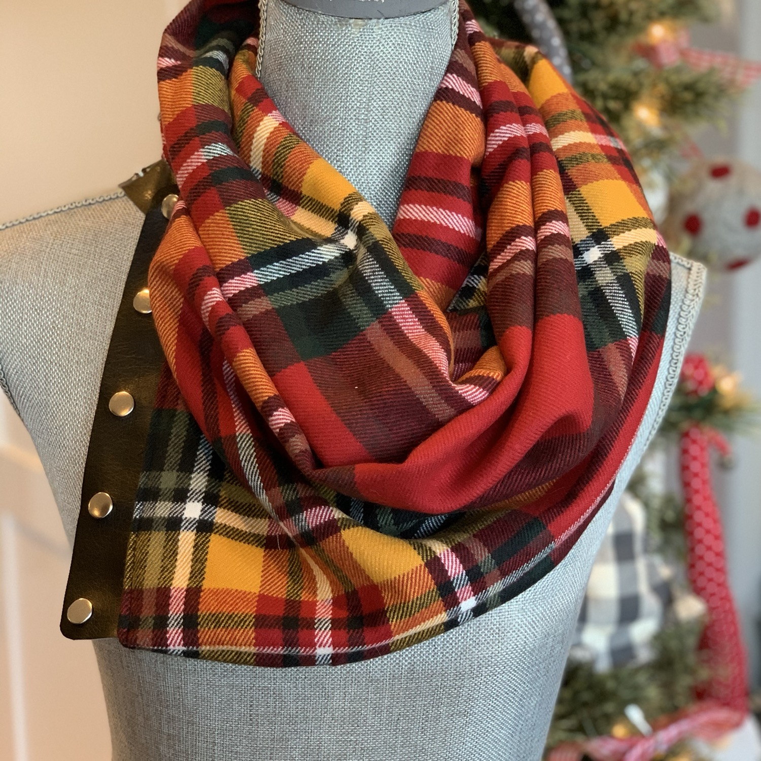 Red, yellow, black green plaid