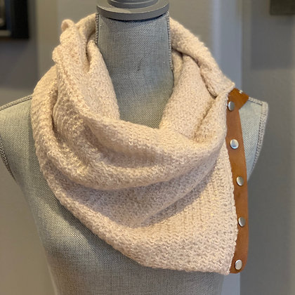 Cream Color Knit with Gold Shimmer Snappy Scarf
