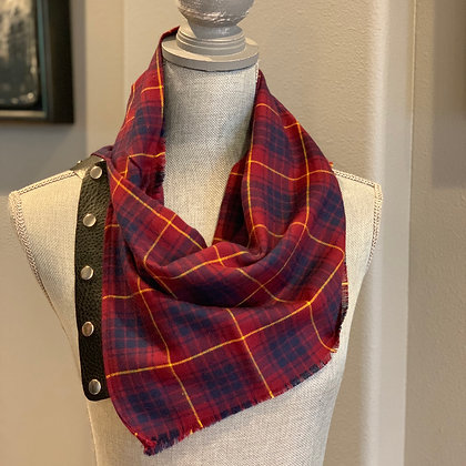 Maroon, Navy with Yellow pinstripe Plaid Snappie Scarf