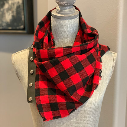 Red and Black 1 inch Buffalo Plaid Snappie Scarf