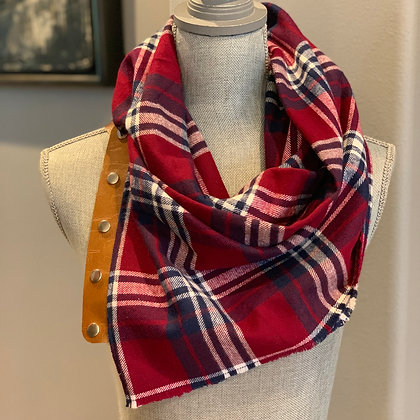 Maroon, Navy and White Plaid Snappie Scarf