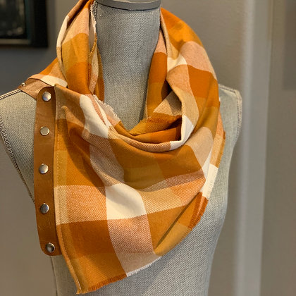 Orange and Mustard Checked PlaidnSnappie Scarf