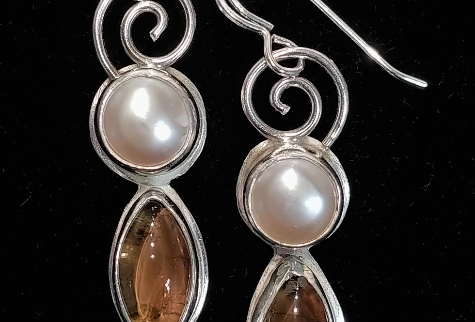 Silver, Smoky Quartz and Pearl Earrings