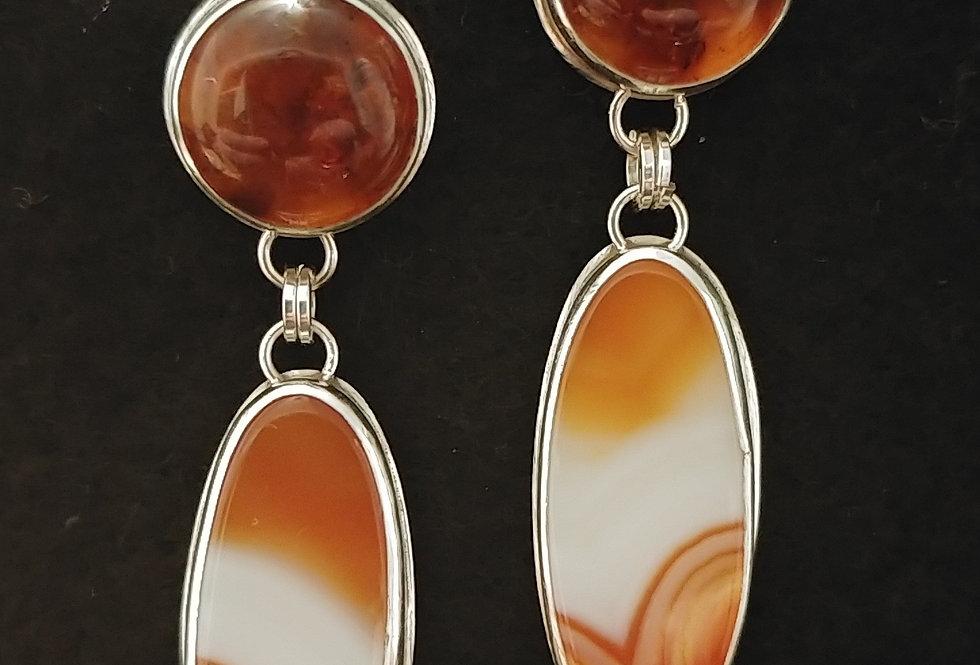 Orange Striped Agate & Amber