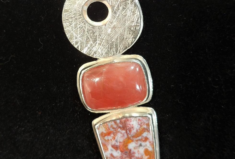 Silver, Rhodochrosite, Red Lightning Agate Pendant