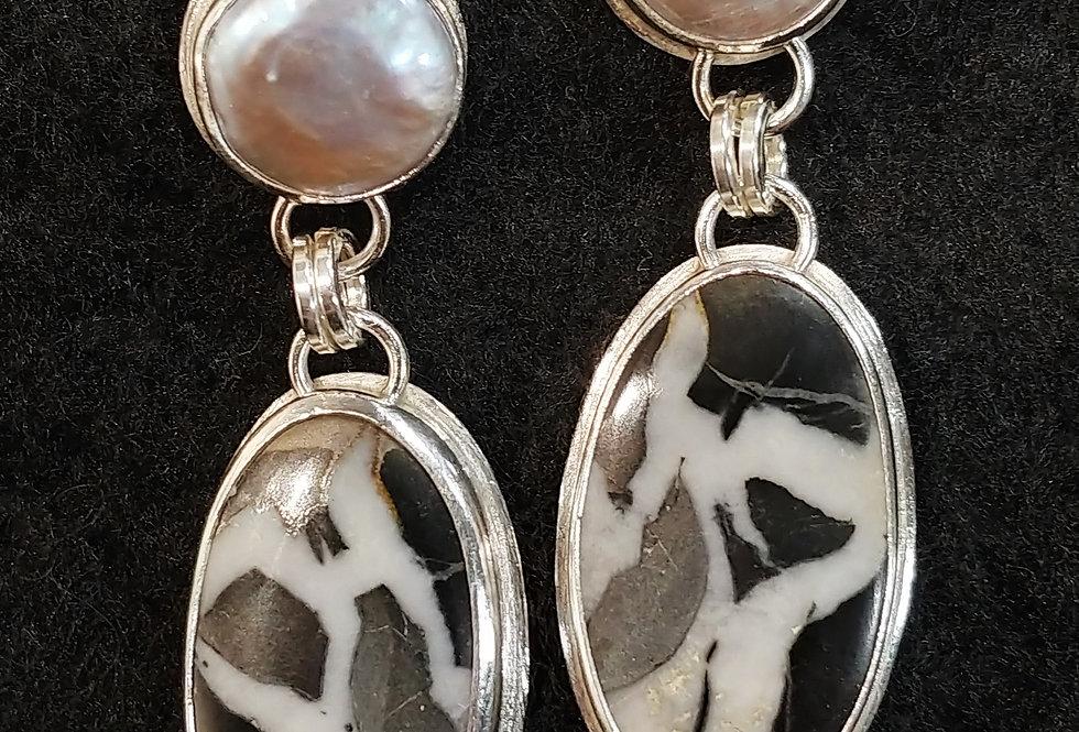 Septarian & Pearl Earrings