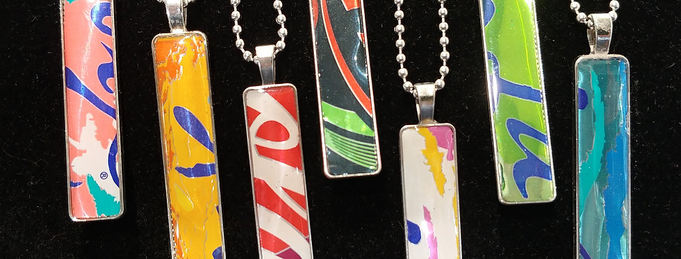 Recycled Aluminum Can Resin Pendants