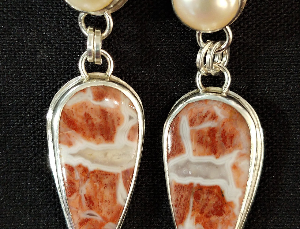 Red Brecciated Jasper & Pearl