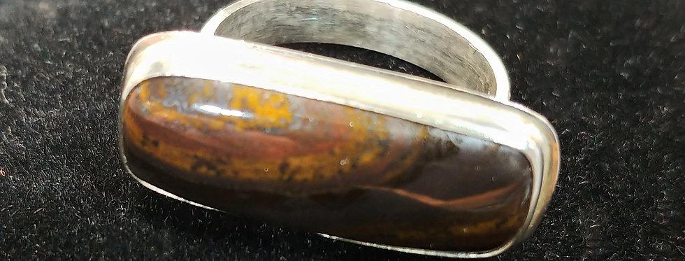 Silver & Tiger Iron Bar Ring