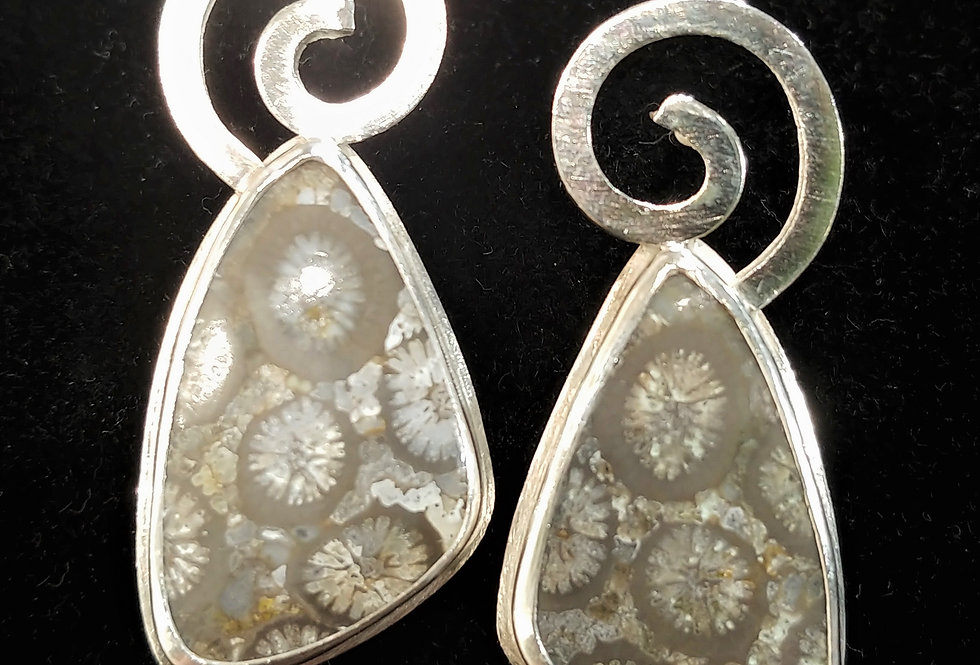 Fossil Coral & Silver Earrings