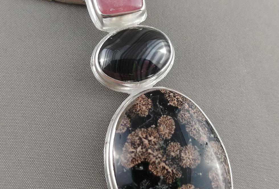 Psilomelane & Red Snowflake Obsidian