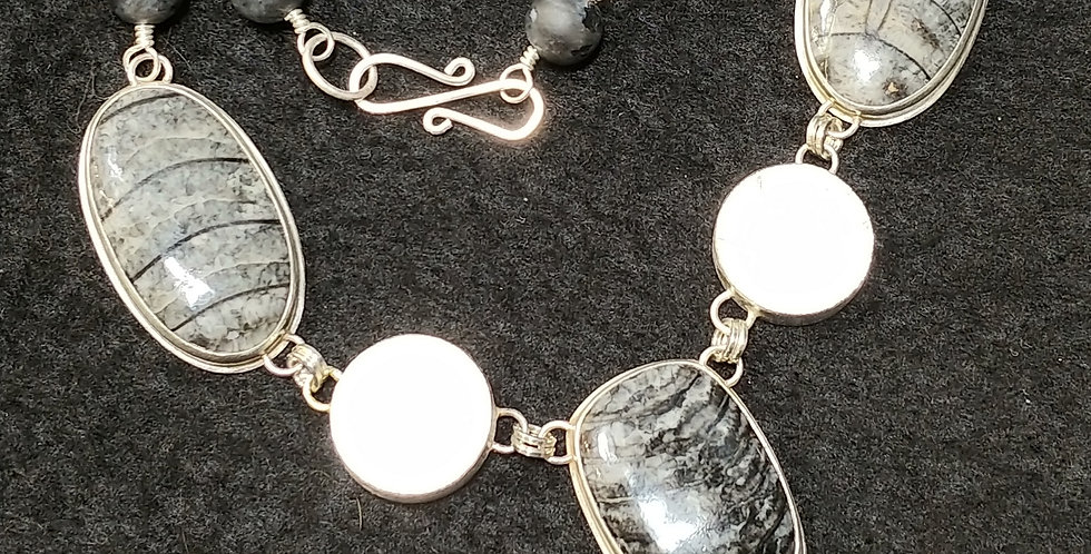 Orthoceras, Obsidian & Moonstone Necklace