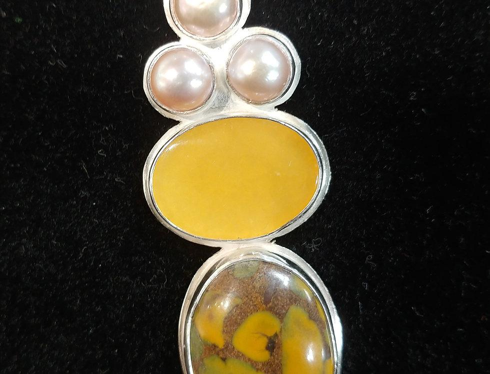 Silver, Fruit Jasper & Yellow Lace Agate