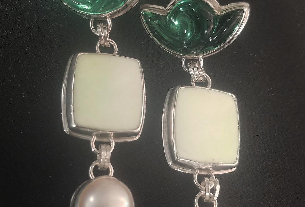 Lemon Chrysoprase & Vintage Glass