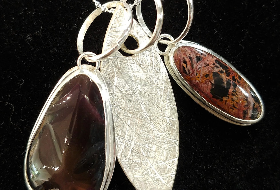 Rainbow Obsidian & Red Picasso Marble Pendant Cluster