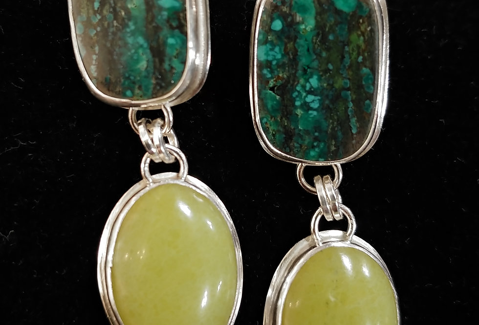 Tibetan Turquoise & Olive Jade Earrings