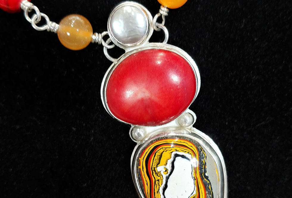 Fordite & Coral Necklace