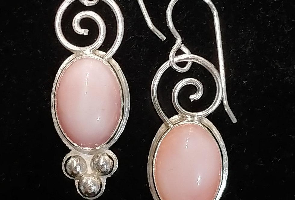 Pink Opal & Silver Earrings