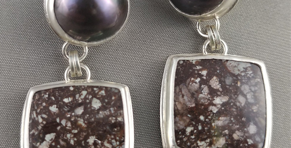 Chocolate Brown-Grey Chinese Flower Jasper & Mabe Pearl